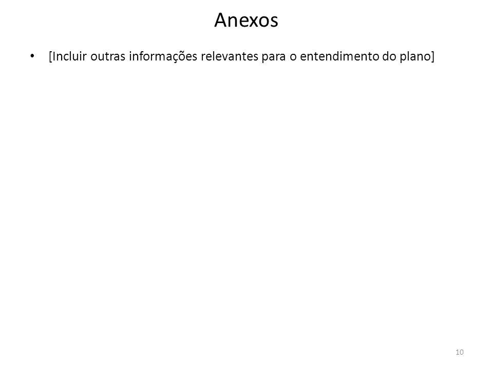 Anexos [Incluir outras informações relevantes para o entendimento do plano]